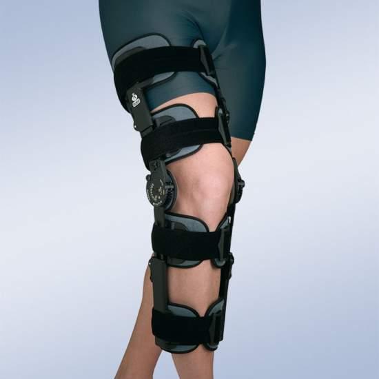 Ortesis de rodilla con bloqueo regulable ( 4 bandas estrechas, 4 cinchas)