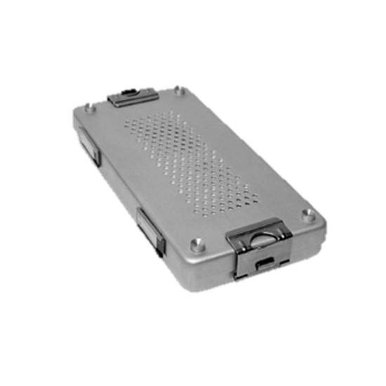 Contenedor de esterilizacion con tapa perforada aluminio anodizado de 30 x 14 x 7 cm.