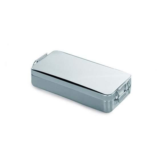 Contenedor tapa c/asa y cierre. Ac/inox 18/10 ester.instrum. 180 x 80 x (h)40 mm