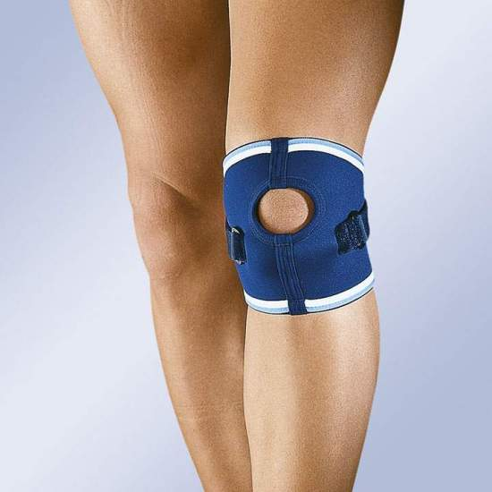 Neoprene knee patella with velcro strap and opening