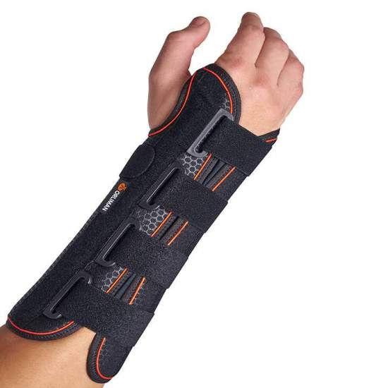 Rigid wrist strap with palm...
