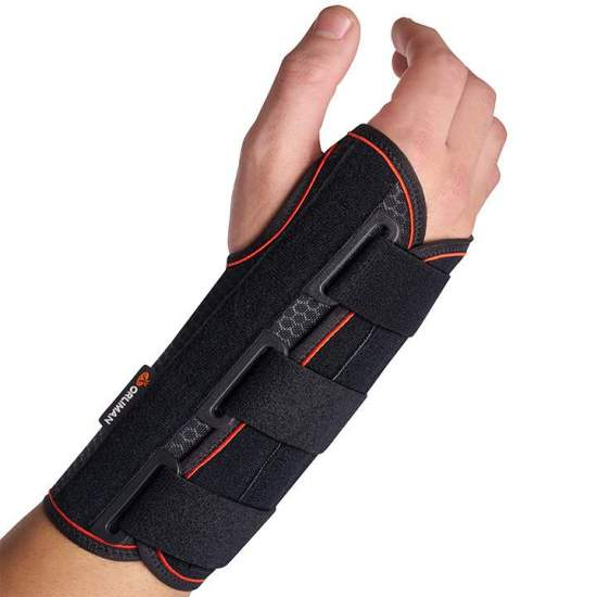 Semi-rigid wrist brace with...