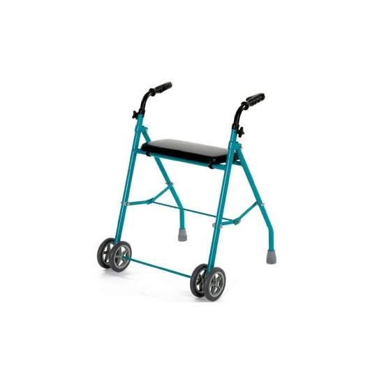 Foldable aluminum walker double wheel