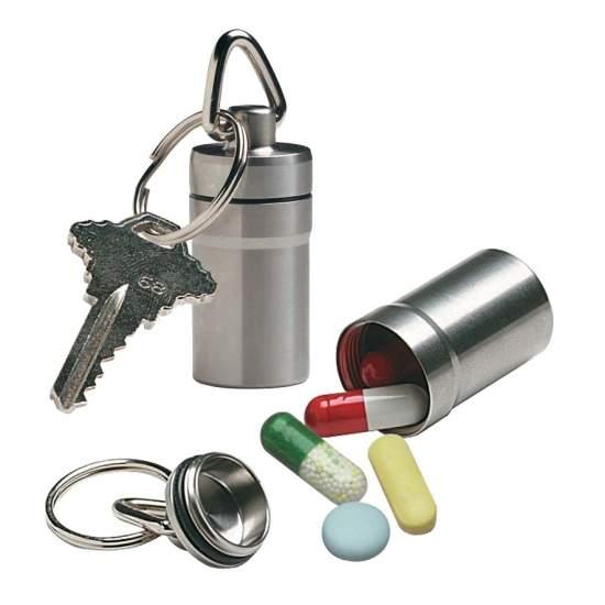 Metalen sleutelhanger met pillendoos