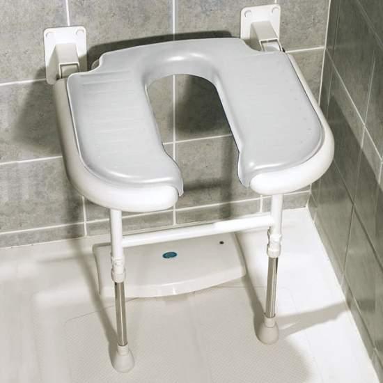 U-shaped folding shower seat with legs
